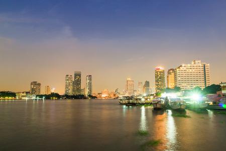 Bangkok , Chaopraya River view at twilight time