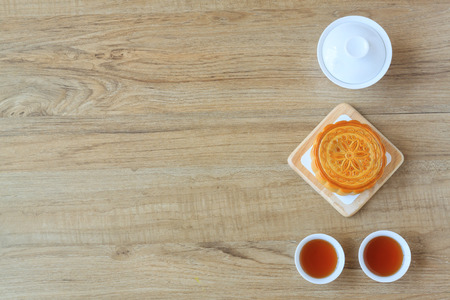 Moon Cake with tea , dessert of Chinese mid autumn festival