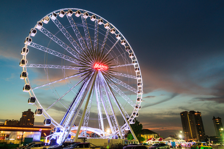 riverfront: BANGKOK THAILAND - OCTOBER 29 : Ferris Wheel  in ASIATIQUE The Riverfront at twilight time , on October 29, 2015 in Bangkok, Thailand. Editorial