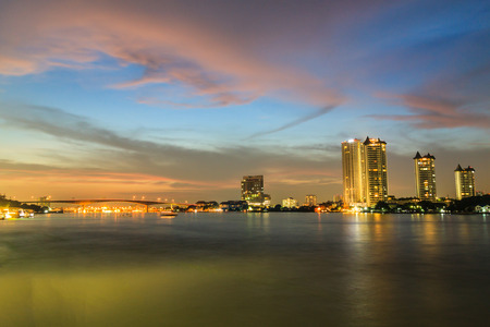 Bangkok Thailand , Downtown View of Chao Phraya  River at twilight time