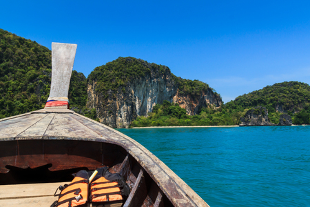 aonang: Long tail boat sail on sea , koh hong krabi Thailand Stock Photo