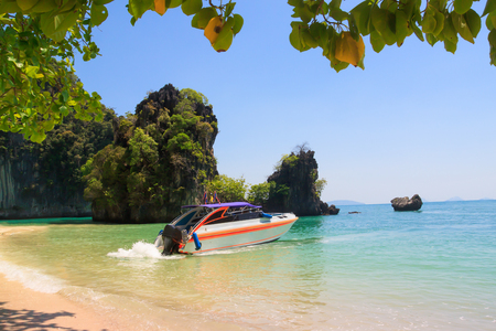 Speed Boat in front of the beach , Koh hong Krabi Thailand