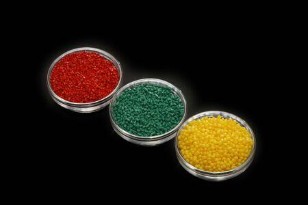 Plastics raw material in various colors