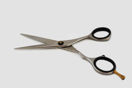 Scissors stainless steel 1810 isolated on white background. Stock Photo