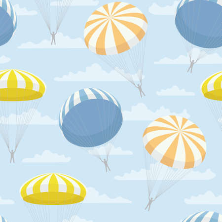 parachutist: pattern with yellow, blue, orange parachutes and clouds Illustration