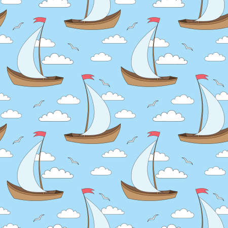 gulls: seamless vector pattern with sailing ships, clouds and gulls
