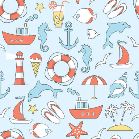 thin shell: vector seamless pattern with flat sea, marine line icons