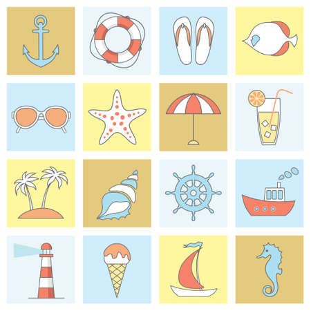 sunglasses recreation: vector set of thin line flat sea, beach icons