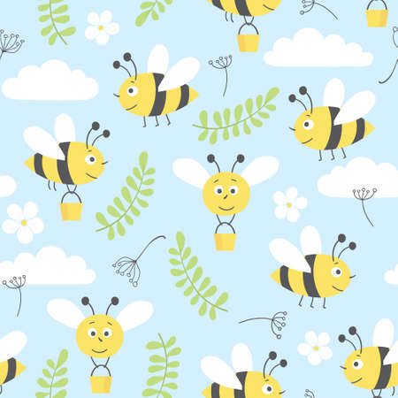bee and flower: seamless vector pattern with cute  bees, clouds,  flowers