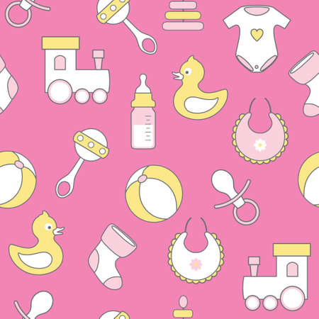 nipple girl: seamless vector pattern with flat baby icons on pink background Illustration