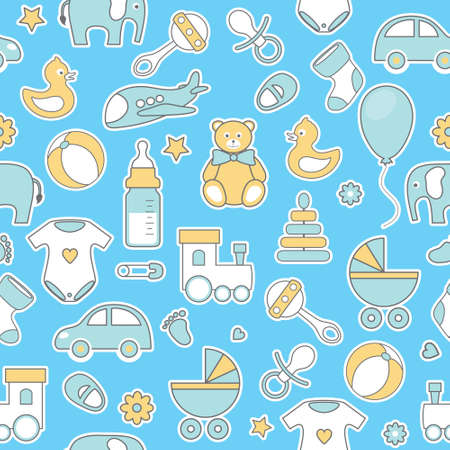 background designs: vector seamless pattern with line flat baby icons Illustration