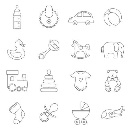 child boy: vector set of line flat baby icons