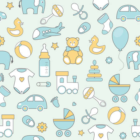vector seamless pattern with line flat baby icons Illustration