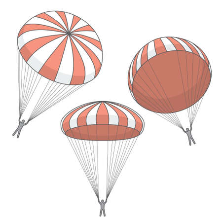 skydiver: vector set of red  parachutes