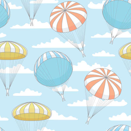 parachute jump: vector seamless pattern with blue parachute, clouds
