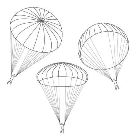 parachute jump: vector set of  parachutes