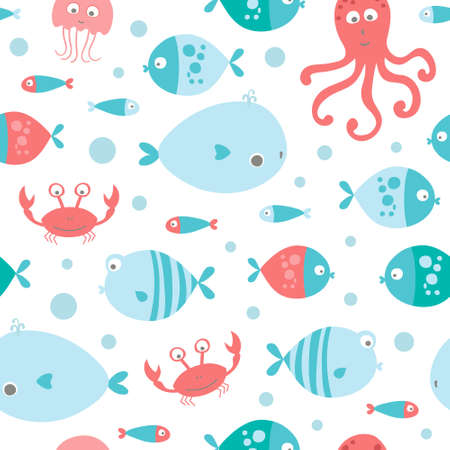 vector seamless sea pattern with fish, crab, jellyfish and octopus