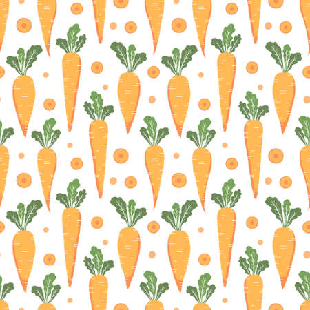 vector seamless vegetable pattern with carrots on white background