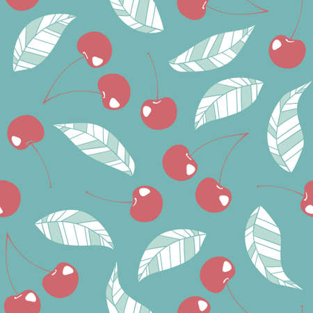 vector seamless pattern with cherry and leaves