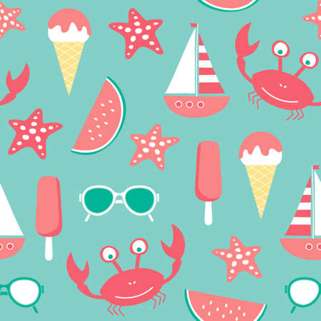 vector seamless beach pattern with crab, ice cream, sun glasses, watermelon, starfish, sailing ship