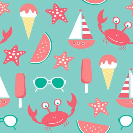 vector seamless beach pattern with crab, ice cream, sun glasses, watermelon, starfish, sailing ship