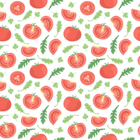 vector seamless vegetable pattern with tomatoes and leaves