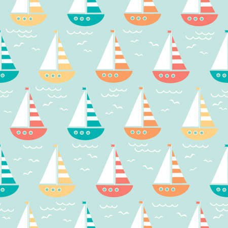 vector seamless sea pattern with cute cartoon ship and seagull 일러스트