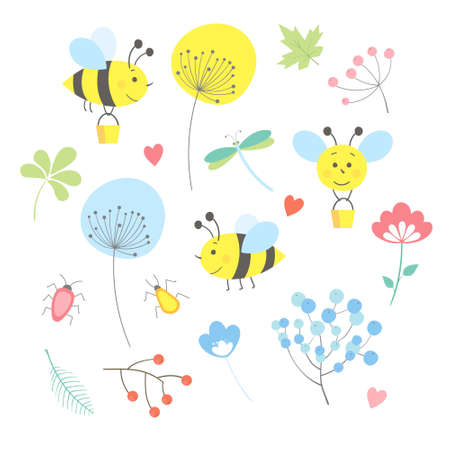 vector spring, summer set with leaves, branches, flowers, snail, bee beatle dragonfly berries