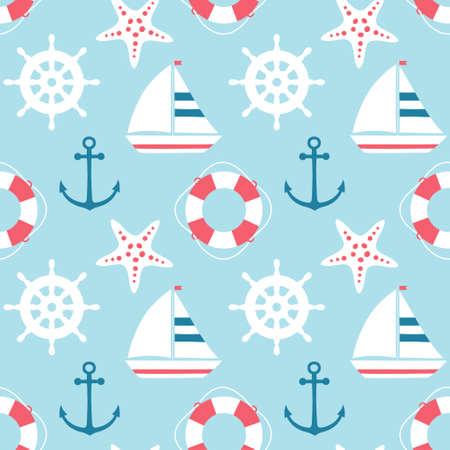 vector seamless sea pattern with cute cartoon sailing ship, starfish, anchor, lifebuoy