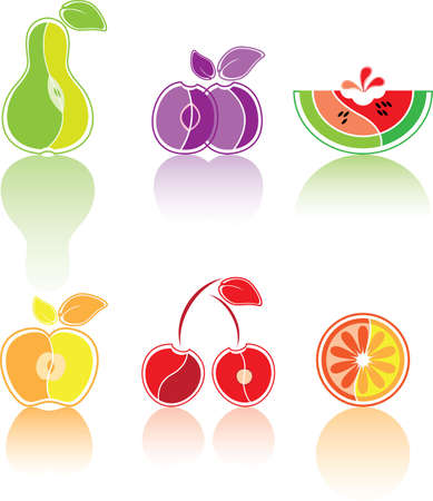 Colourful vector set from the various stylised fruit, isolated on white photo