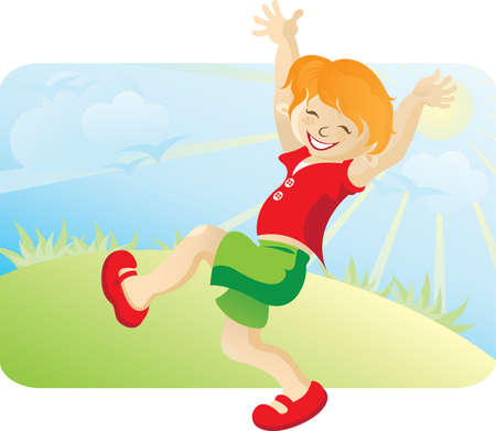 The happy running boy on the nature. Against the blue sky, the sun, a lawn and birds photo
