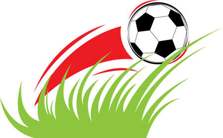 Vector dynamical composition on a sports theme with a football, a grass and a cloud