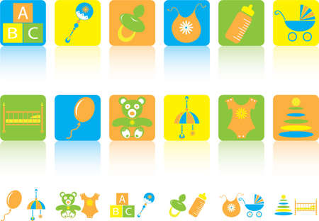 Beautiful set of multi-coloured  children icons Stock Vector - 6692718