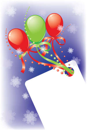New Years card with balloons, a beads, snowflakes and tapes. It is possible to write the text Vector