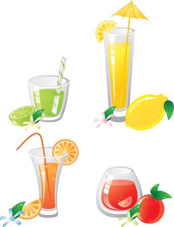 orange juice glass: Agrumi set di icone fruts e bevande.  Vettoriali