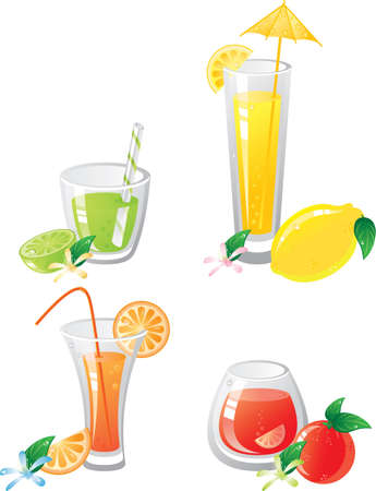 Citrus fruts and drinks icon set.
