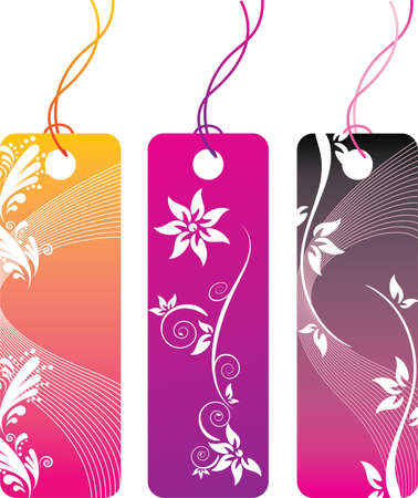 Pink flower price tag label set. Many decorative elements. Isolated on a white background.   Vector
