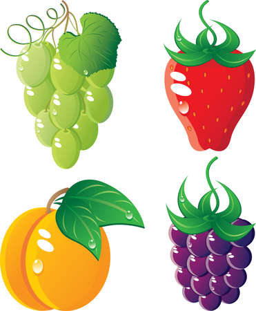 Ripe fruit icon set.  Isolated on a white background. All parts (object) closed, possibility to edit. Stock Vector - 7215699