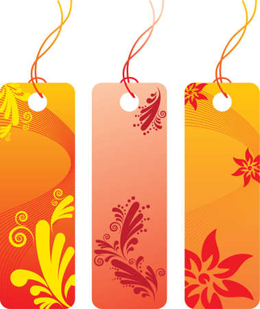 Orange flower price tag label set. Many decorative elements. Isolated on a white background. All parts (object) closed, possibility to edit.  Vector