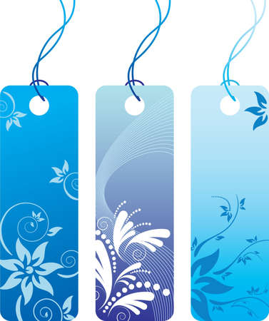 Blue flower price tag label set. Many decorative elements. Isolated on a white background. All parts (object) closed, possibility to edit. Vector