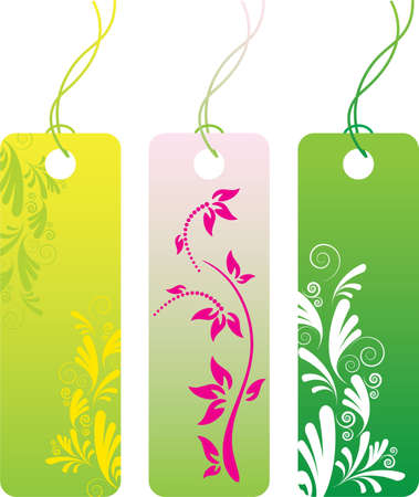 Green flower price tag label set. Many decorative elements. Isolated on a white background. All parts (object) closed, possibility to edit.  Stock Vector - 7215592