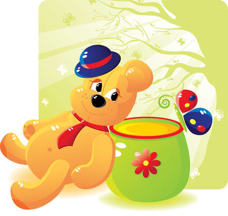 Cheerful bear cub with honey and the butterfly. Bear cub in a hat and a tie. Cartoon stile. Without a transparency. Isolated on a white background. Vector illustration (EPS8). All parts (object) closed, possibility to edit. Vector
