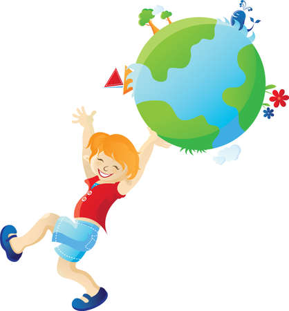 The cheerful boy holding in the hands a planet Earth. All parts (object) closed, possibility to edit.