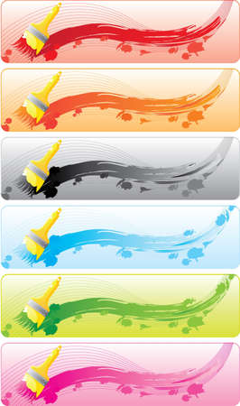 Colorful banner set with brashes and daps. All parts (object) closed, possibility to edit.  Vector
