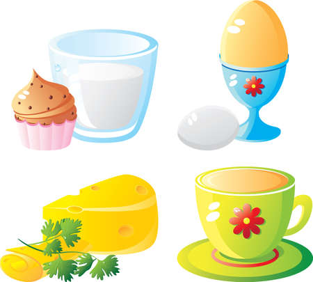 Breakfast icon set. Isolated on a white background. All parts (object) closed, possibility to edit. Without a transparency Vector