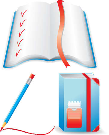 Blue notebook, open book and pencil.  Isolated on a white background. All parts (object) closed, possibility to edit. Vector