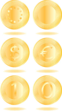 Golden coins set. Various variants of design. Isolated on a white background. All parts (object) closed, possibility to edit. Vector