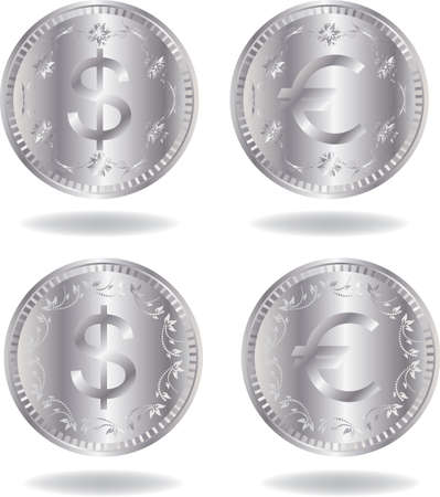 Silver coins set. Various variants of design. Isolated on a white background. All parts (object) closed, possibility to edit. Stock Vector - 7215786