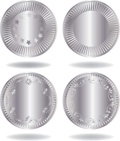 Silver coins set. Various variants of design. Isolated on a white background. All parts (object) closed, possibility to edit. Stock Vector - 7215780