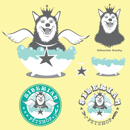 siberian husky: Angel Dog Siberian Husky illustration Illustration